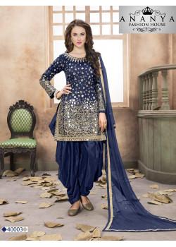 Exotic Blue Santoon-Satin Salwar kameez