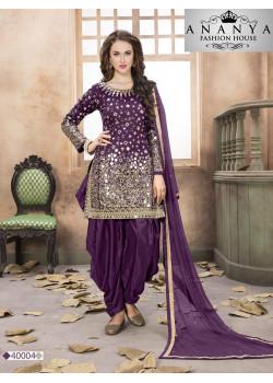Magnificient Purple Santoon-Satin Salwar kameez
