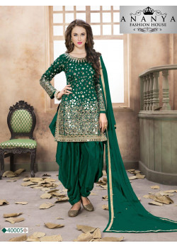 Incredible Green Santoon-Satin Salwar kameez