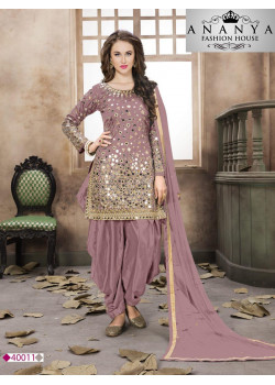 Classic Light Purple Santoon-Satin Salwar kameez