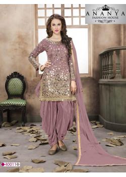 Classic Light Purple Santoon-Satin Salwar kameez