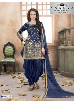 Exotic Blue Santoon-Satin Salwar kameez