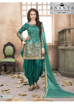 Gorgeous Green Santoon-Satin Salwar kameez
