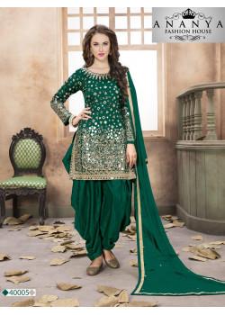 Incredible Green Santoon-Satin Salwar kameez