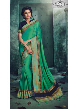 Melodic Green Georgette Saree with Dark Blue Blouse