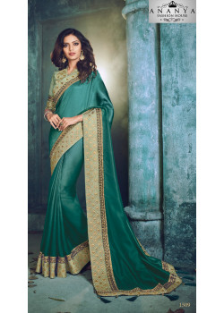 Divine Blue Georgette Saree with Green Blouse