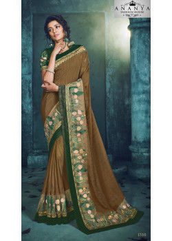 Gorgeous Yellow Georgette Saree with Green Blouse