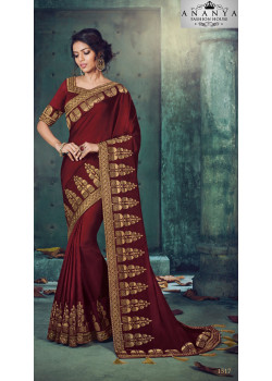 Classic Maroon Georgette Saree with Maroon Blouse
