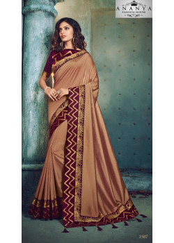 Charming Brown Georgette Saree with Maroon Blouse