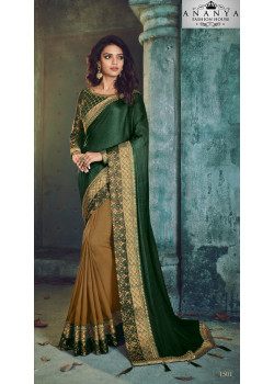 Classic Yellow Georgette Saree with Green Blouse