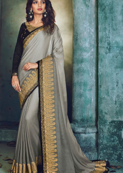 Incredible Silver Georgette Saree with Black Blouse