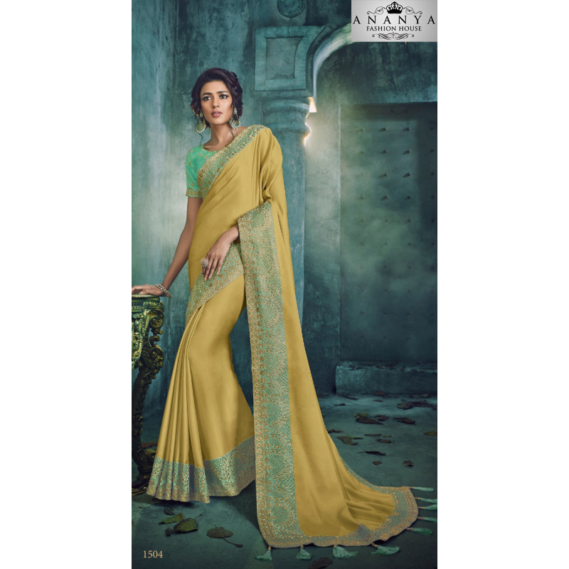 Luscious Yellow Georgette Saree with Blue Blouse