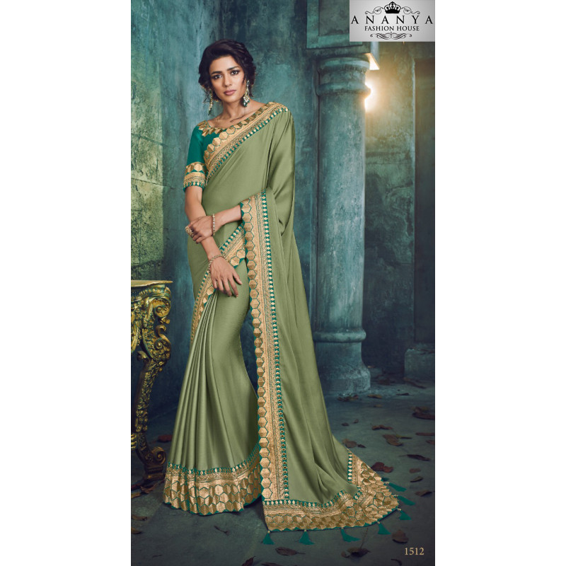 Magnificient Green Georgette Saree with Green Blouse