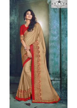 Plushy Yellow Georgette Saree with Red Blouse