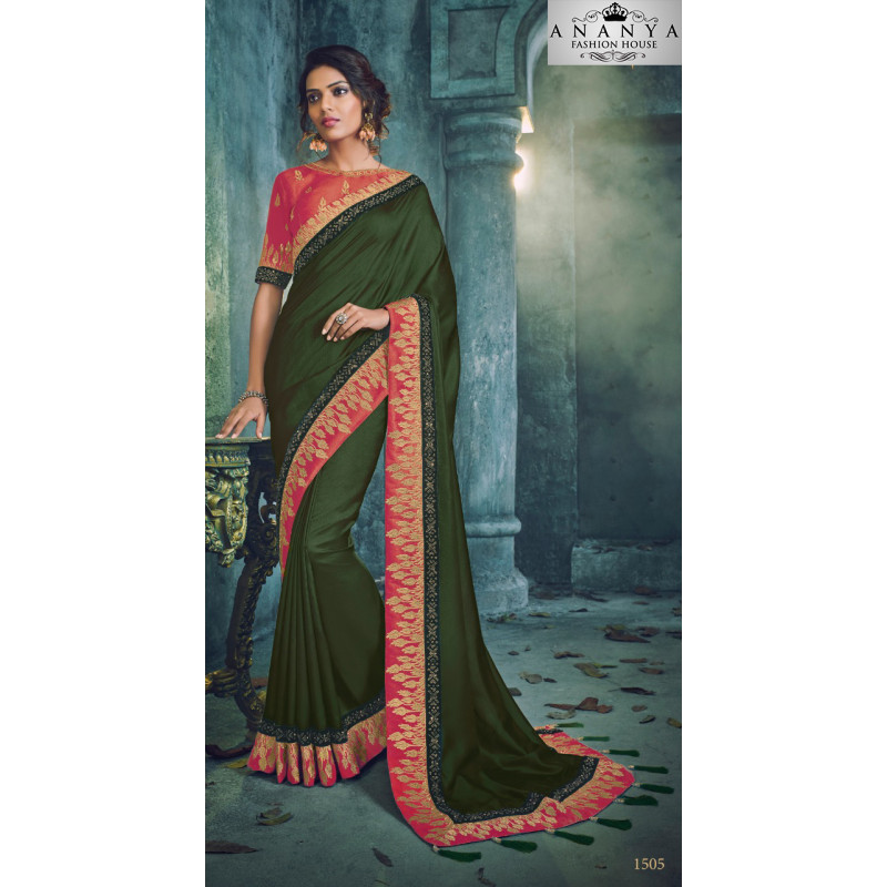 Trendy Green Georgette Saree with Pink Blouse