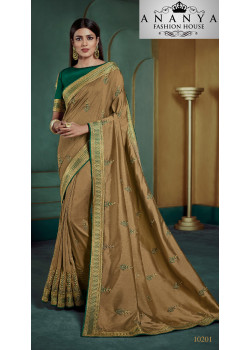 Adorable Yellow Georgette Saree with Green Blouse