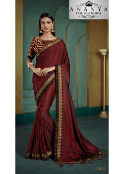 Flamboyant Maroon Georgette Saree with Maroon Blouse