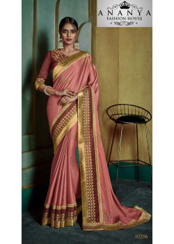 Charming Pink Georgette Saree with Maroon Blouse