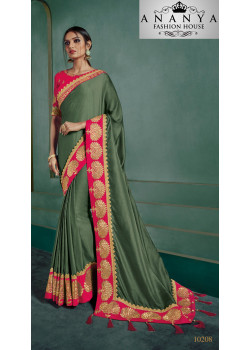 Divine Green Georgette Saree with Pink Blouse