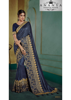 Plushy Dark Blue Georgette Saree with Dark Blue Blouse