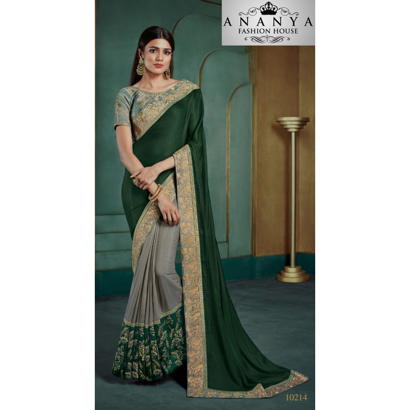 Enigmatic Grey Georgette Saree with Blue Blouse