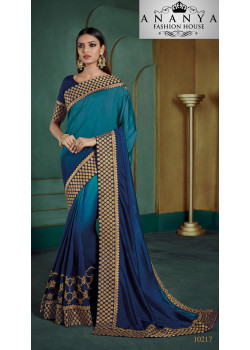 Adorable Blue Georgette Saree with Blue Blouse