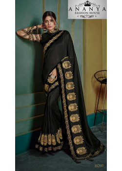 Dazzling Black Georgette Saree with Black Blouse