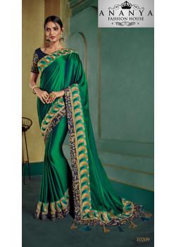 Gorgeous Dark Green Georgette Saree with Dark Green Blouse