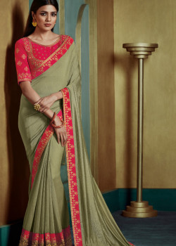 Incredible Light Green Georgette Saree with Pink Blouse