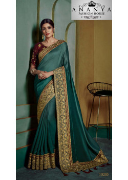 Melodic Dark Green Georgette Saree with Maroon Blouse