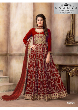 Incredible Red Art Silk Salwar kameez