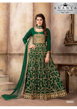 Plushy Green Art Silk Salwar kameez
