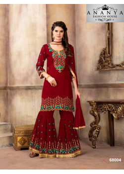 Flamboyant Red Georgette Salwar kameez