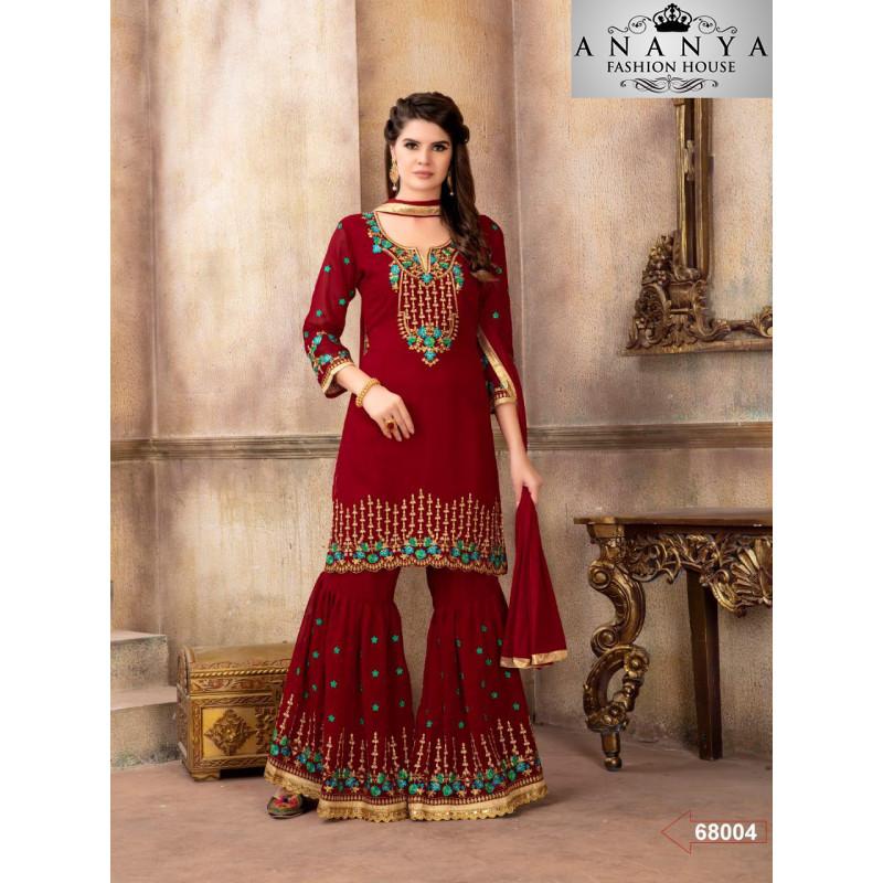 Flamboyant Red Georgette Salwar kameez
