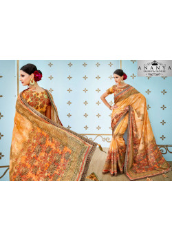 Trendy Yellow Banarasi Silk Saree with Yellow Blouse