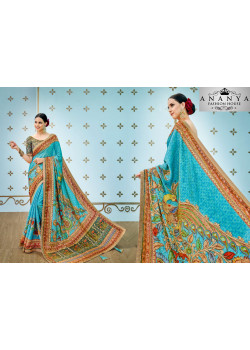 Luscious Blue Banarasi Silk Saree with Blue Blouse