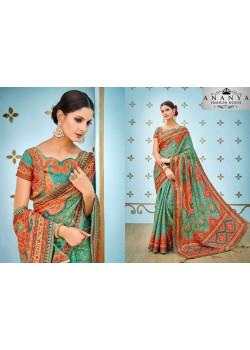 Magnificient Green Banarasi Silk Saree with Green Blouse
