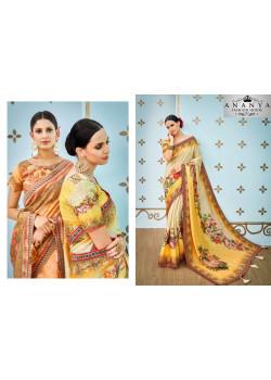 Melodic Yellow-White Banarasi Silk Saree with Yellow-White Blouse