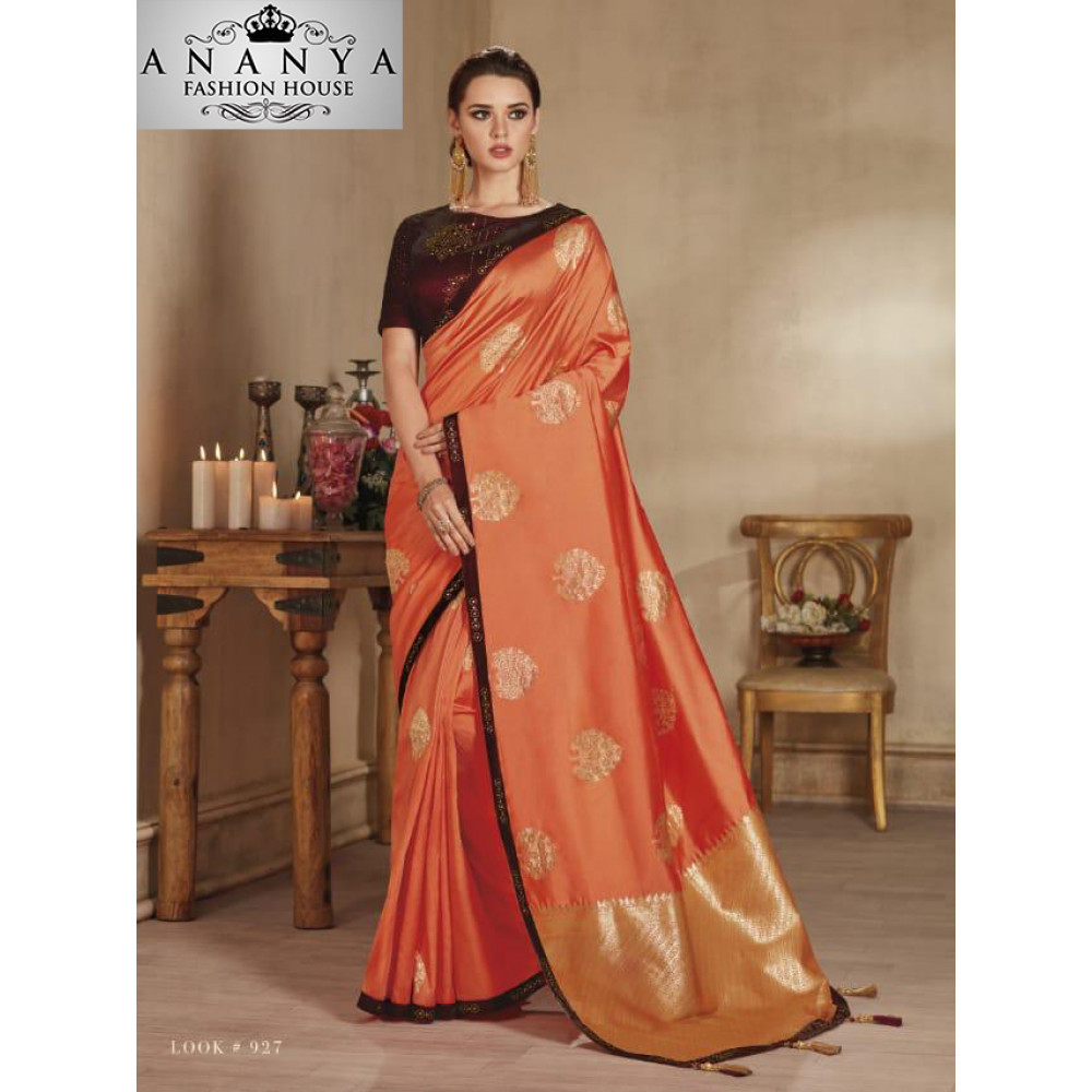 bd7027bb307d46 Incredible Orange Banarasi Silk Saree with Black Blouse