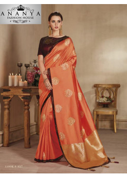 Incredible Orange Banarasi Silk Saree with Black Blouse