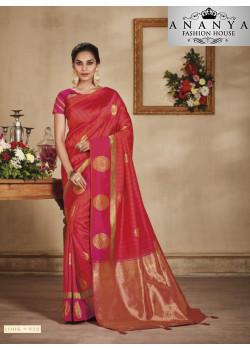 Adorable Red-Pink Banarasi Silk Saree with Pink Blouse