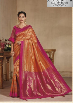 Luscious Orange-Pink Banarasi Silk Saree with Pink Blouse
