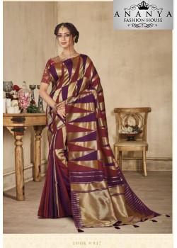 Charming Multicolor Banarasi Silk Saree with Multicolor Blouse