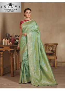 Classic Green Banarasi Silk Saree with Pink Blouse