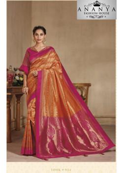 Luscious Orange-Pink Banarasi Silk Saree with Pink Blouse