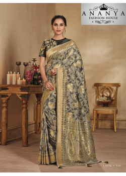 Magnificient Grey Banarasi Silk Saree with Black Blouse