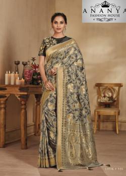 Magnificient Grey Banarasi Silk Saree with Black Blouse