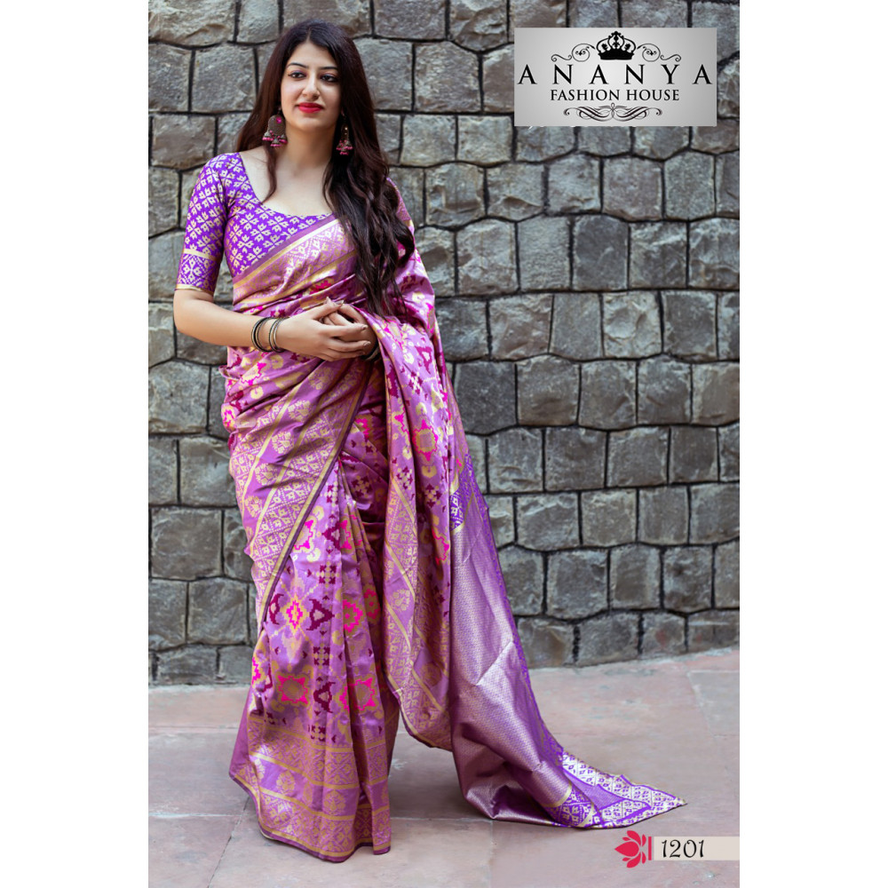 0d10e7ae7963e4 Gorgeous Purple Banarasi Silk Saree with Purple Blouse