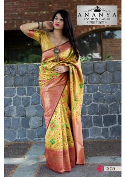 Magnificient Yellow Banarasi Silk Saree with Yellow Blouse