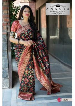 Incredible Black-Red Banarasi Silk Saree with Red Blouse